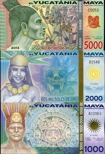 MAYA YUCATANIA YUCATA SET 3 PCS 1000 2000 5000 RORO 2012-2013 NEW POLYMER UNC