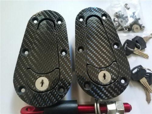 US Black Racing Quick Release Bonnet Lock Carbon Fiber Hood Pins Latch Key Kit