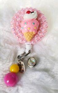 "Ice Cream Cabochon Pink ID Badge Holder Retractable Reel 36/"" Alligator Clip"