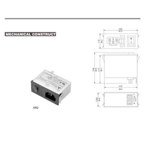 Snap Mount DELTA ELECTRONICS 2-Stage EMI Filter w// Switch P//N 06AR2