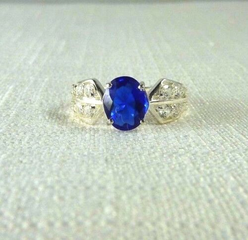 2.70 ct Blue & White Cubic Zirconia 925 Sterling Silver Cluster Ring