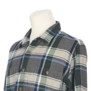 J-Crew-Button-Down-Blue-Green-Gray-Plaid-Flannel-Outdoor-Shirt-Mens-XL-Slim-Fit