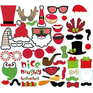17-50pc-Noel-Photo-Booth-Props-Drole-Visage-Xmas-Party-Photo-NEWYEAR-Selfie