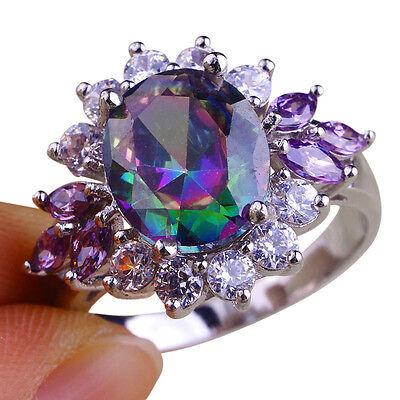 New Rainbow Topaz & White Topaz & Amethyst Gemstones Silver Ring Size 7 8 9 10