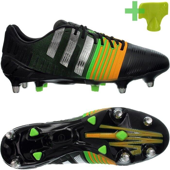 Adidas Nitrocharge 1.0 TRX SG para Hombre Botines De Fútbol-Negro plata naranja nueva