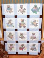Stamped For Cross Stitch Embroidery Baby Blocks 12 Boy Bears 9 X 9 Each