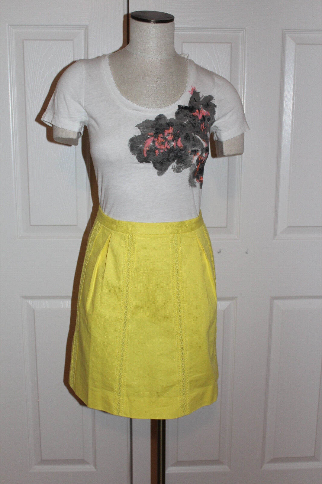 J.Crew Cotton Lace-stripe Skirt Size 12 NWT Light Citron color
