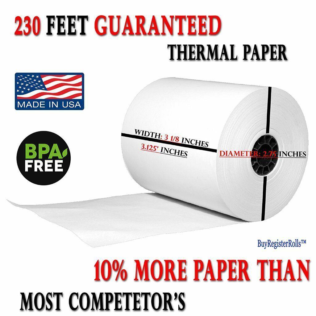 Bpa Free thermal 3 1 8 x 230 paper rolls 50 Pos Rolls 80mm thermal paper 3 1//8 x230 BuyRegisterRolls