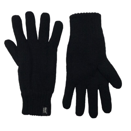 RL Mens Super Thermal Heat Holders Tog Rated Fleece Lined Gloves Black 2 Sizes
