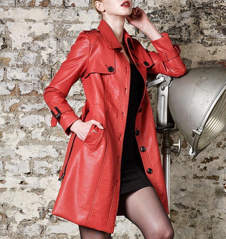 Moda Para mujeres largo abrigo de cuero Chaqueta Parka Rompevientos  Talle Slim Belt  Con precio barato para obtener la mejor marca.