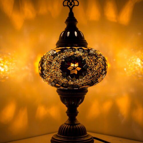 Mosaik Tischlampe Türkische Mosaiklampe Handgearbeitet Orientalische Lampe Gelb