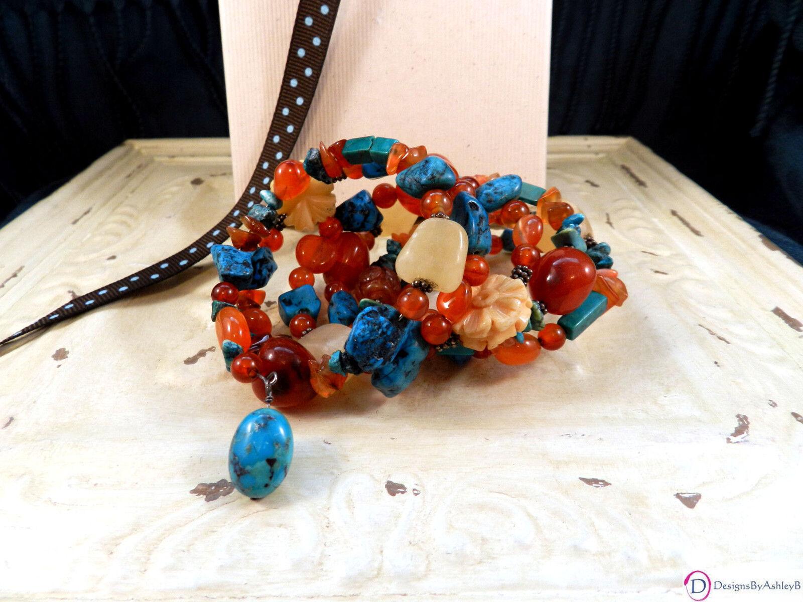 Turquoise and Carnelian Mixed-Stone Wrap Bracelet