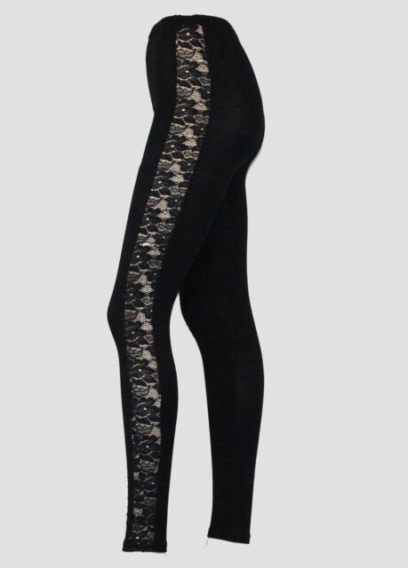 NEW WOMENS LACE SIDE PANEL FULL LENGTH LADIES LEGGINGS  SPEEDY POST SALE !