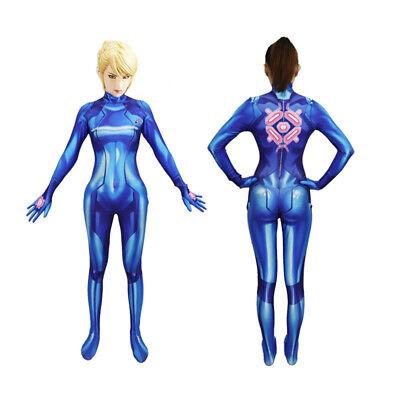 Samus Aran Costume Printing Lycra Spandex Bodysuit Zero Suit Halloween Cosplay