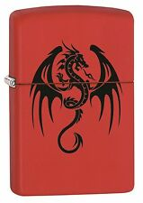 Zippo Lighter: Flaming Dragon Tattoo - Red Matte 77454