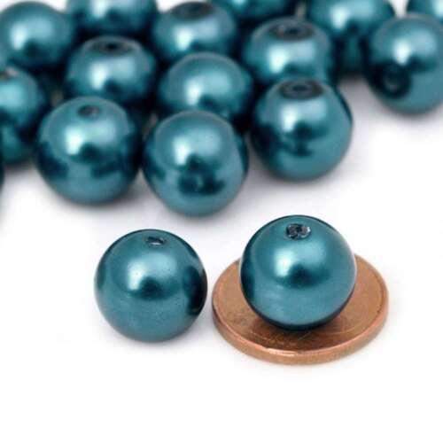 85pcs Perles Nacrée en Verre Espaceur Ronde Paon bleu Beads 10x10mm GP4-21