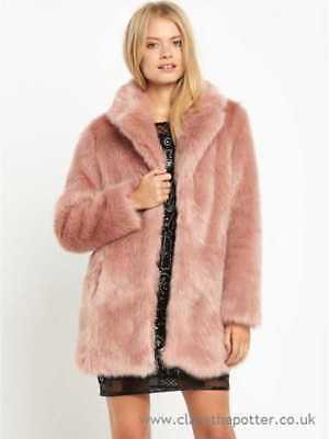 cc173b0a67da8 MISS SELFRIDGE UK SIZE 12-14 FAUX FUR DUSKY LIGHT PINK WOMENS JACKET LADIES  COAT   eBay