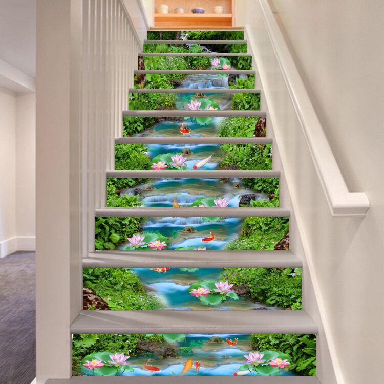 3D Vert étang Poissons 473 contremarches Décoration Photo Murale Autocollant Vinyle Papier Peint US