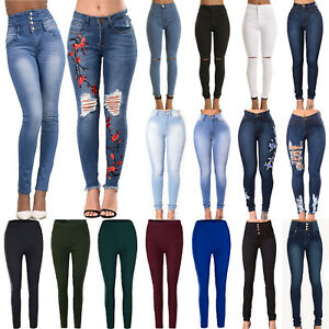 Women-High-Waist-Slim-Fit-Jeans-Skinny-Ripped-Denim-Pencil-Pants-Stretch-Trouser