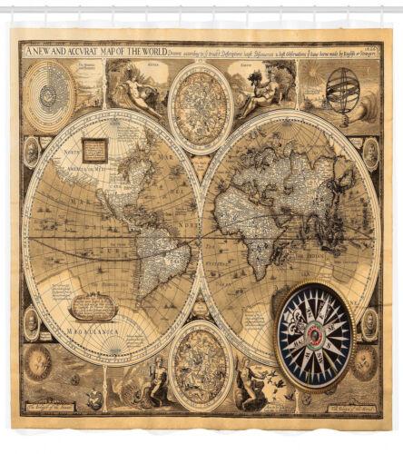 altertümlich Duschvorhang Accvrat Karte der Welt
