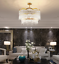 thumbnail 3 - Modern Crystal Gold Chandelier Round Glass Dining Room Living Light Fixture