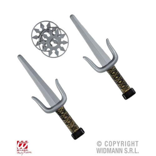 Ninja-Waffen-Set 4-teilig Shuriken Stern Sai Gabeln Kostüm Zubehör Karneval 0120