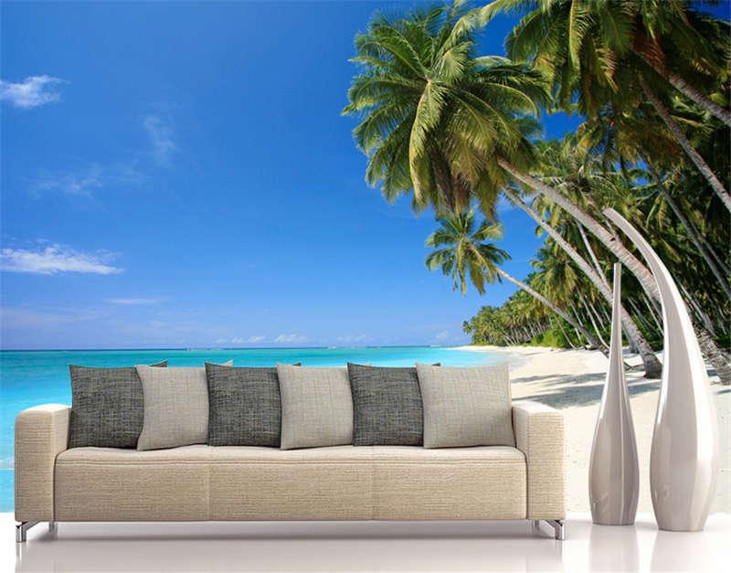 Beach Island  Palm Tree Full Wall Mural Photo Wallpaper Print Kids Home 3D Decal