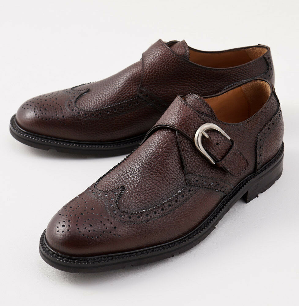 NIB  DI MELLA NAPOLI Brown Grained Leather Monk Strap shoes US 10.5