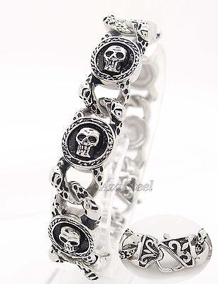"Mens Silver Skulls 316L Stainless Steel Biker Link Bracelet 8.5"" 21.5cm"