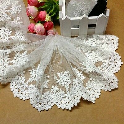 "5""*1yard delicate white embroidered flower tulle lace trim for DIY"