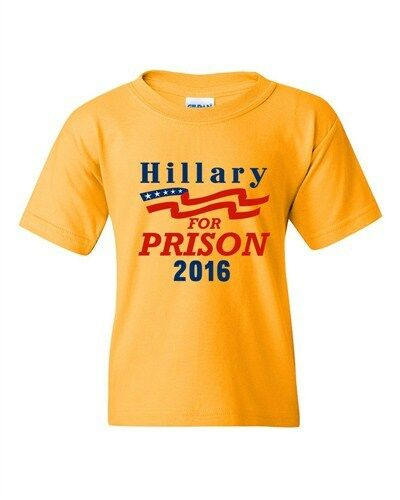 Hillary For Prison 2016 President Election Politics DT Youth Kids T-Shirt Tee