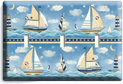 Nautical Baby Nursery Sailboats Triple Light Switch Wall Plates Room House Decor Ebay