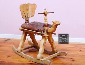 VINTAGE-OLD-ROCKING-CAMEL-ROCKING-HORSE-034-CAMEL-034-RARE-PICK-UP-only-photo-prop