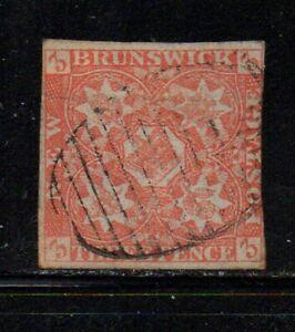 New Brunswick Sc 1 1851 3 d red Crown & Heraldic Flowers stamp used