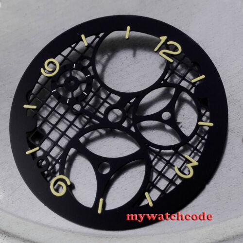 38.7mm parnis orange number three-dimensional black dial fit ETA 6497 movement36