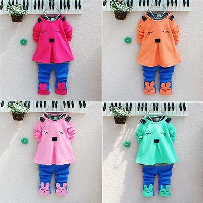 Bunny Rabbit Baby Girls Long Sleeve Tops Shirt Clothes Pants Outfit