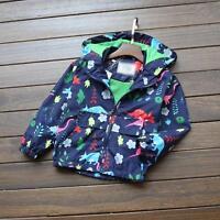 Baby Kids Boy Girl Warm Hooded Outwear Long Sleeve Coat Jackets Windbreaker 2-7Y