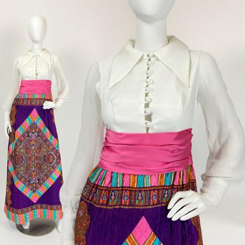 Vintage 60s 70s Maxi Dress PsYcHeDeLiC Sheer Bisho