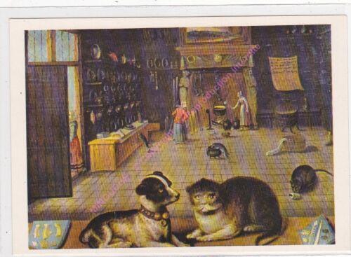CP ART TABLEAU INCONNU  chat et chien Proverbe