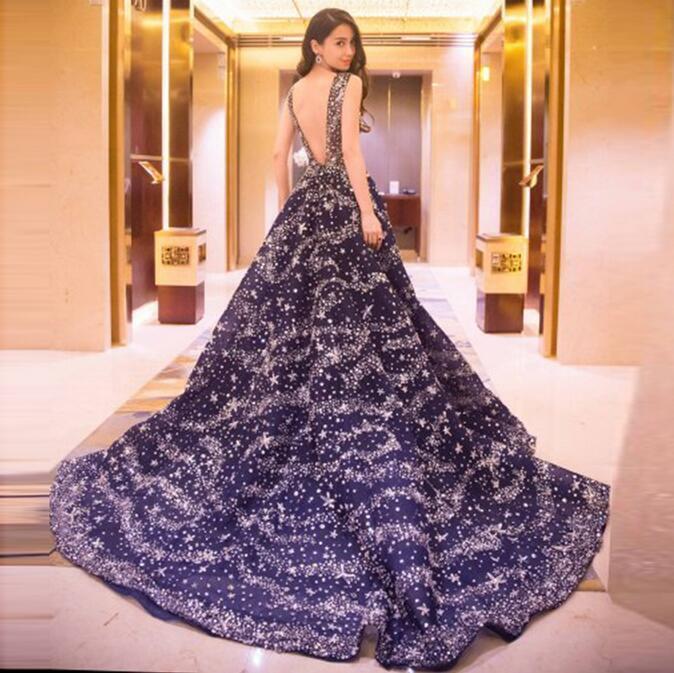 Sexy Womens Dark bluee Sky Stars Dresses Formal Super Long Big Train Bridal Gown