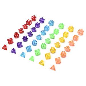 7x-lot-Transparent-Dice-Set-D4-D6-D8-D10-D10-D12-D20-6-Colors-Different-ColoVCG