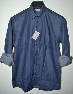 CAMICIA JEANS UOMO Taglia XXXL maniche lunghe tela leggera 100/% cotone blu 3XL