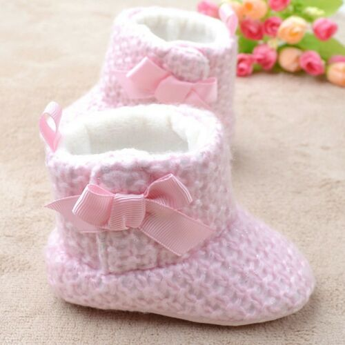 NEW Baby Girl Sweet Pink Crochet Boots Shoes 0-18 months size 1//4//5