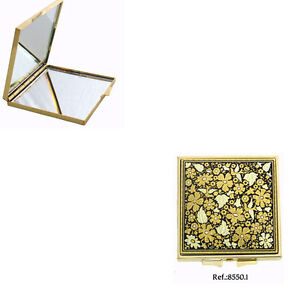 Damascene-Gold-Compact-Mirror-Flower-Design-by-Midas-of-Toledo-Spain