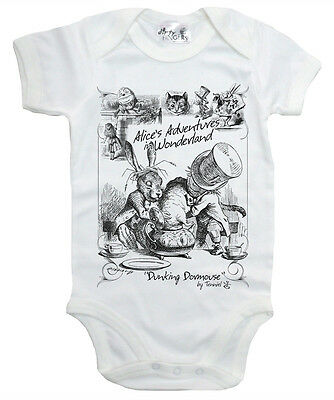 Dirty Fingers Bodysuit Baby grow Alice in Wonderland Dunking Dormouse Tea Party