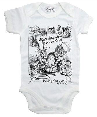 "Alice Wonderland Baby Bodysuit ""Dunking Dormouse"" Mad Hatter Tea Party Babygrow"