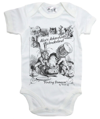 "Alice Wonderland Bebé Body /""hundir lirón/"" SOMBRERERO LOCO TEA PARTY babygrow"