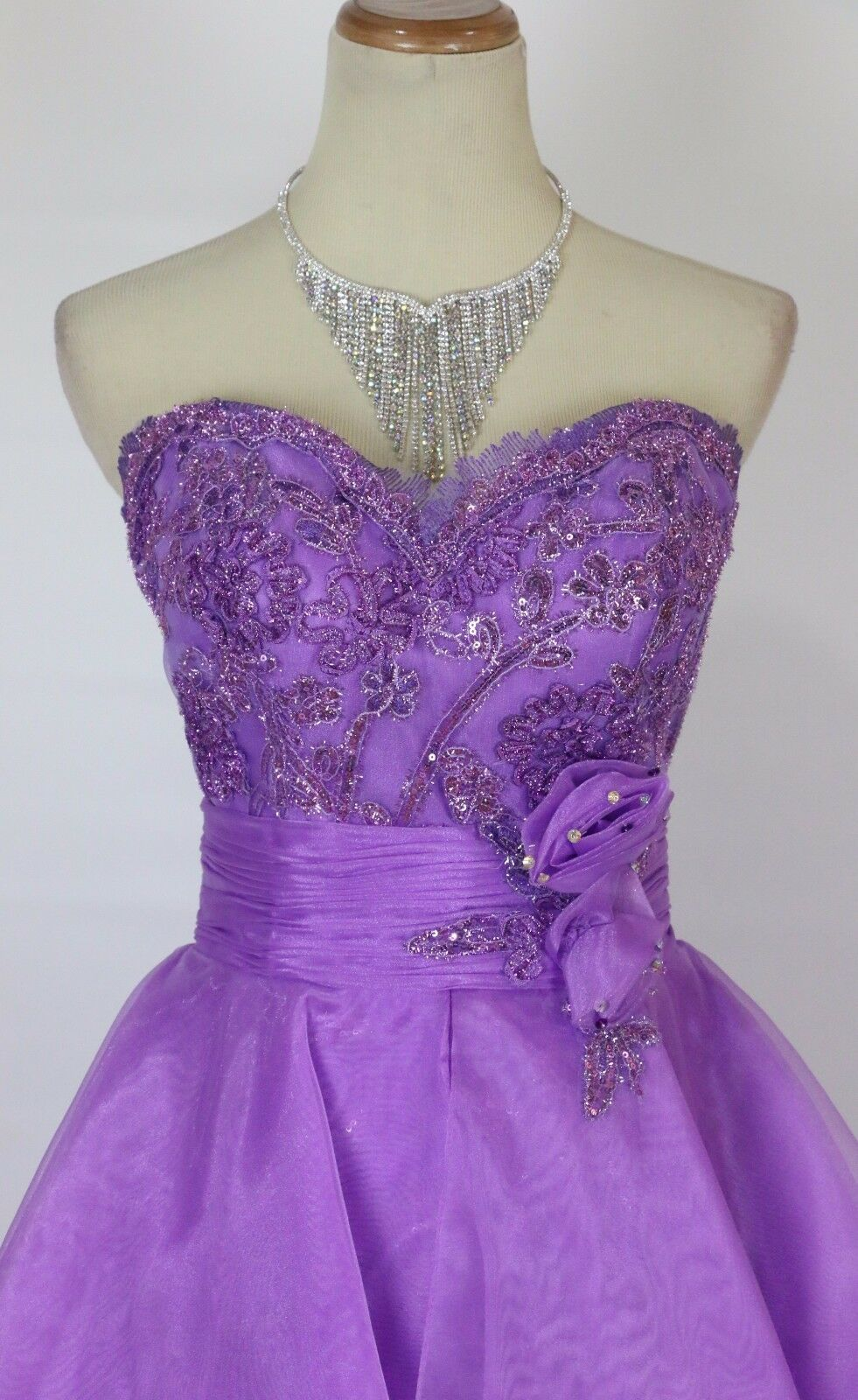 NEW Tony Bowls Size 4 Purple Strapless Ball Gown Prom Formal  Dress High Low