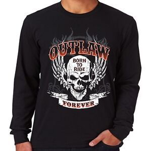Velocitee Mens Long Sleeve T-Shirt Outlaw Forever Born To Ride Biker A21649