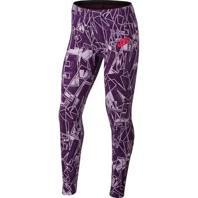 Nike Girls Sportswear Mashup Printed Tight Pants Leggings  Purple/Lavender New